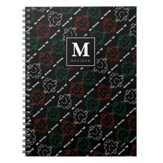 Carnet Le motif | rouge, de blanc et de vert ajoutent