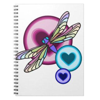 Carnet Le pastel a coloré la libellule avec rose bleu et