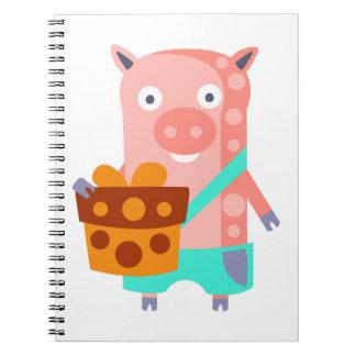 Carnet Le porc avec la partie attribue génial stylisé