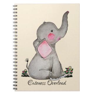 Carnet L'éléphant mignon de bébé d'aquarelle avec
