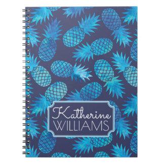 Carnet Les ananas bleus de colorant de cravate   ajoutent