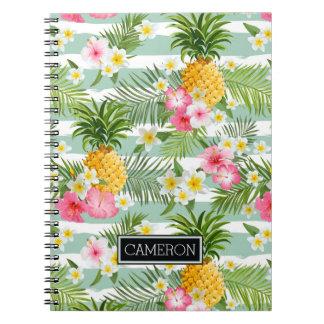 Carnet Les fleurs et les rayures de Teal d'ananas  