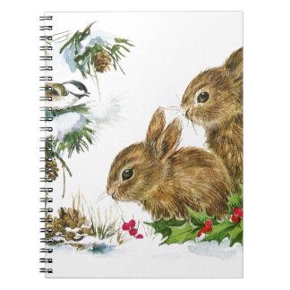 Carnet Les lapins et l'oiseau apprécient la neige