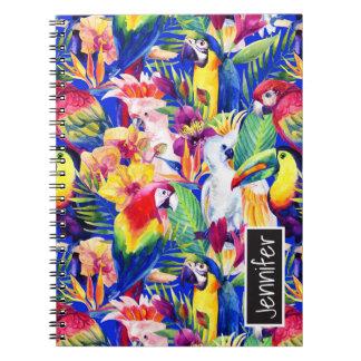 Carnet Les perroquets d'aquarelle   ajoutent votre nom