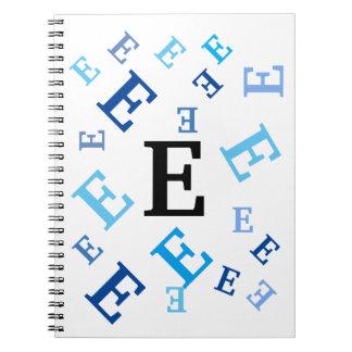 Carnet - lettres bleues brouillées