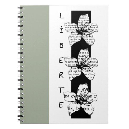 """Carnet """"Liberté"""", gris, noir et blanc"""