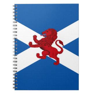 Carnet Lion effréné rouge, antique, drapeau de St Andrew