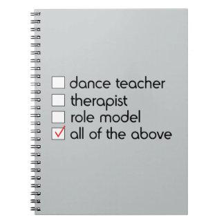 Carnet Liste de contrôle de professeur de danse
