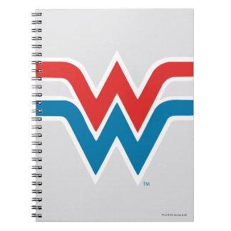Carnet Logo blanc de femme de merveille et bleu rouge