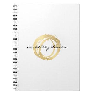 Carnet Logo de concepteur de cercle peint par or Luxe de