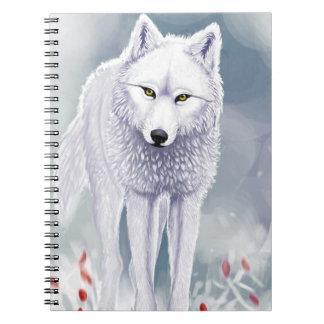 Carnet loup blanc (80 pages avec lignes noires)