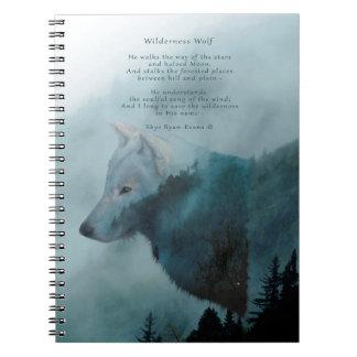 Carnet Loup de région sauvage et poème d'Eco