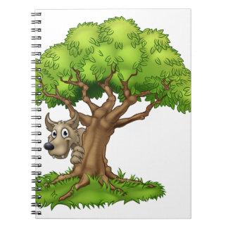 Carnet Loup et arbre de conte de fées de bande dessinée