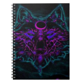 Carnet Loup turquoise au néon mythique