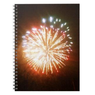 Carnet lumineux de photo de feux d'artifice