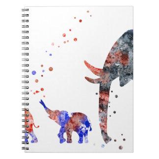 Carnet Maman et bébés éléphant, famille d'éléphant