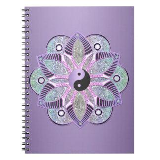 Carnet Mandala pourpre de fleur de Yin Yang Lotus de