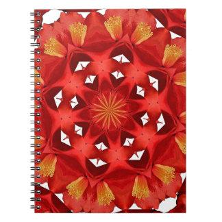 Carnet Mandala rouge de camélia