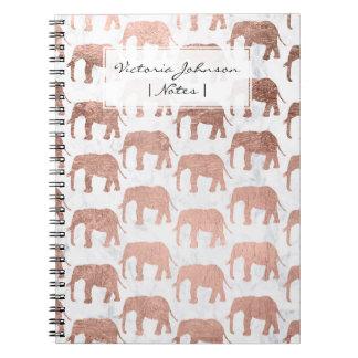 Carnet Marbre rose de blanc d'éléphants d'or de faux à la