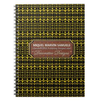 Carnet moderne noir jaune décoratif de la vie
