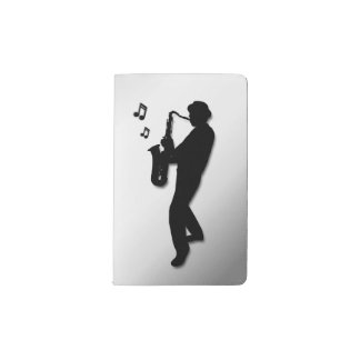 Carnet Moleskine De Poche Argent de joueur de saxophone