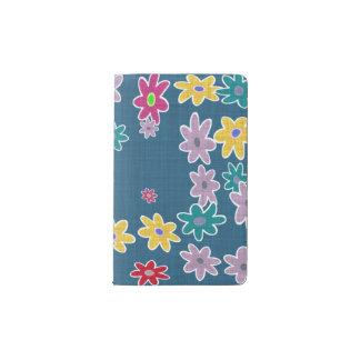 Carnet Moleskine De Poche Arrière - plan bleu avec le motif de fleurs coloré