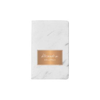 Carnet Moleskine De Poche Marbre blanc avec le charme élégant d'étiquette de