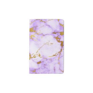 Carnet Moleskine De Poche Motif de marbre métallique de lavande de Faux
