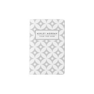 Carnet Moleskine De Poche Motif de pois gris et blanc moderne de cercle