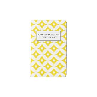 Carnet Moleskine De Poche Motif de pois jaune et blanc moderne de cercle
