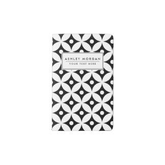 Carnet Moleskine De Poche Motif de pois noir et blanc moderne de cercle