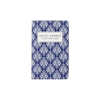 Carnet Moleskine De Poche Motif élégant de damassé de bleu marine et de