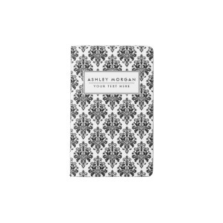 Carnet Moleskine De Poche Motif noir et blanc élégant de damassé