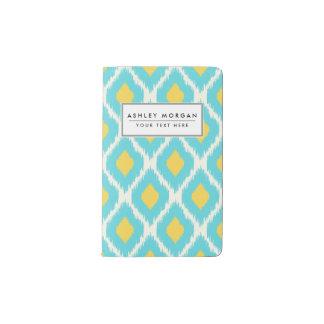 Carnet Moleskine De Poche Motif tribal aztèque jaune bleu à la mode d'Ikat