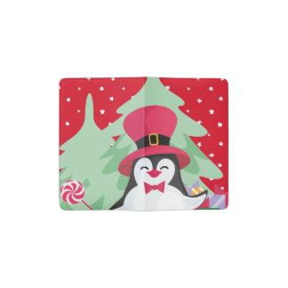Carnet Moleskine De Poche Pingouin de fête avec Sleigh - rouge
