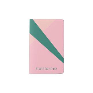 Carnet Moleskine De Poche Vert géométrique élégant de pêche de rose en