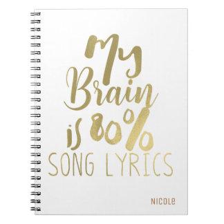 Carnet Mon cerveau est or de textes de chanson de 80%
