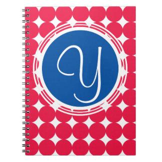 Carnet Monogramme bleu et rouge de point de polka