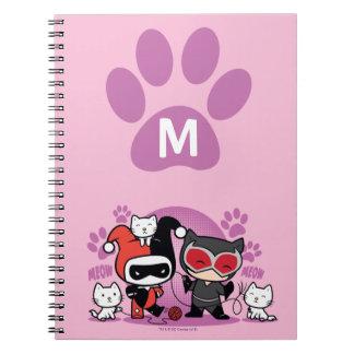 Carnet Monogramme Chibi Harley Quinn et Catwoman avec des