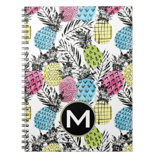 Carnet Monogramme grunge des paumes | d'ananas