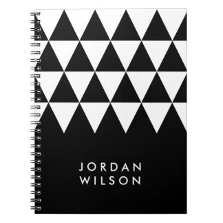 Carnet Motif blanc moderne minimaliste noir de triangle