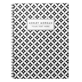 Carnet Motif de pois noir et blanc moderne de cercle