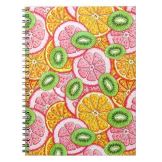 Carnet Motif d'été. Fruit orange de pamplemousse et de