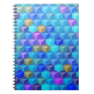 Carnet Motif géométrique de cube pourpre bleu