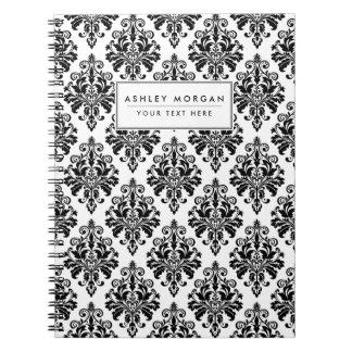 Carnet Motif noir et blanc élégant de damassé