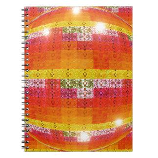 Carnet Motif orange de boule de disco