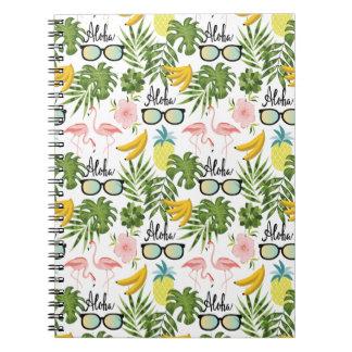 Carnet Motif tropical de lunettes de soleil roses de