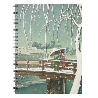 Carnet Neige au paysage d'art d'hiver de Hasui Kawase de