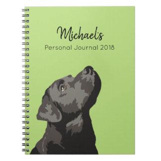 Carnet noir de journal personnalisé par Labrador