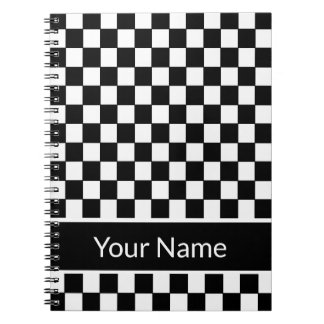 Carnet Nom personnalisé Checkered noir et blanc